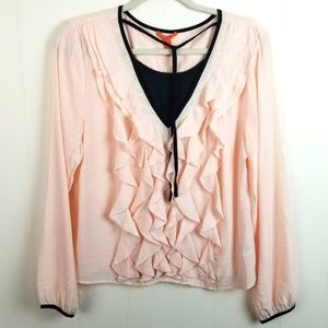 Ruffle Front Blouse Layered Look Tuxedo Pink